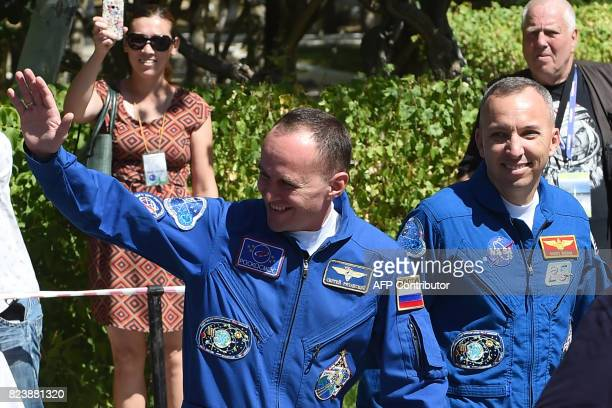 Members of the main crew of the 52nd expedition to the International Space Station NASA astronaut Randy Bresnik Russian cosmonaut commander Sergei...