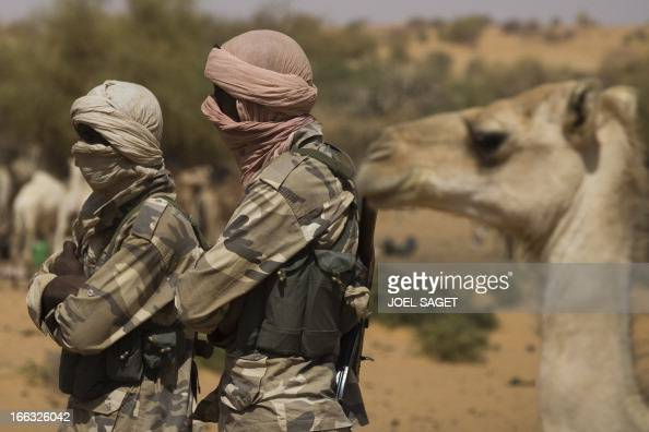 Members of the Malian Special Force are pictured on April 9 105 kms north of the northeastern Malian city of Gao during the Operation Gustav a hunt...