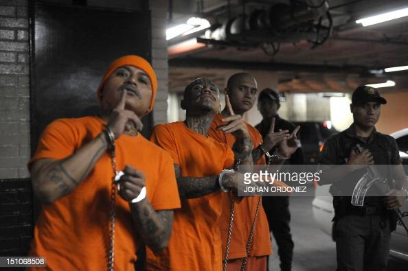 Members of the 'Mara 18' gang make identifying signals upon arrival in court in Guatemala City on August 31 2012 to face charges of extortion and...