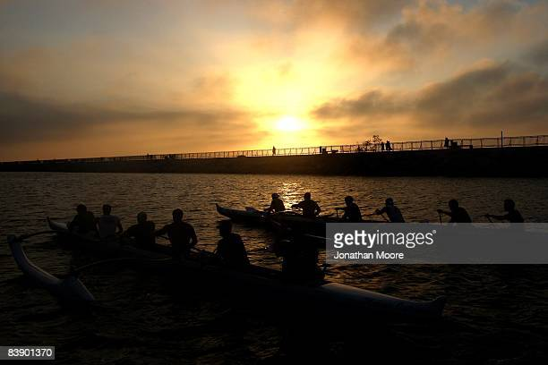 Members of the Marina Outrigger Canoe team practice in Marina del Rey harbor on August 26 2008 in Marina Del Rey California