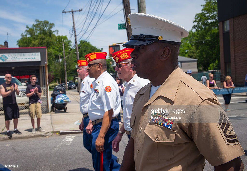 Members of the Marine Corps League march May 26, 2014 during the 96th Staten Island Memorial Day parade in Staten Island, New York. Memorial Day was originally celebrated as Decoration Day after the Civil War in 1868. It became a federal holiday in 1971 and commemorates all those who have died fighting for the U.S. in wars.