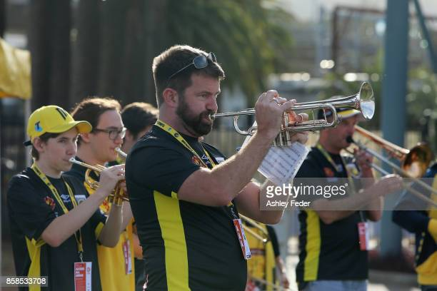 Members of the Mariners brass band during the round one ALeague match between the Central Coast Mariners and the Newcastle Jets at Central Coast...