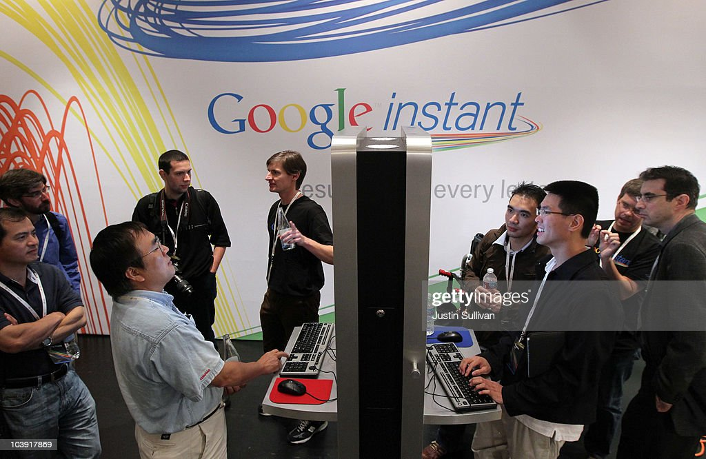 Members of the media and invited guests use the new Google Instant during a special launch event September 8, 2010 in San Francisco, California. Google announced the launch of Google Instant, a faster version of Google search that streams results live as you type your query.