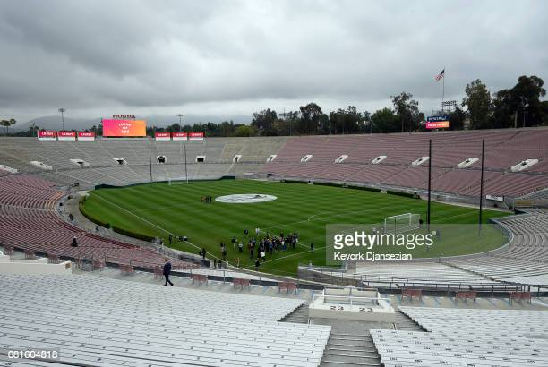 Members of the media are given a tour of The Rose Bowl stadium as a possible venue as the International Olympic Committee Evaluation Commission tours...
