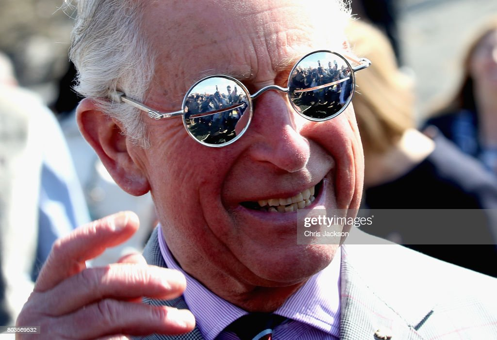 Members of the media are reflected in some snow glasses as Prince Charles, Prince of Wales attends a community feast event at Sylvia Grinnel Territorial Park during a 3 day official visit to Canada on June 29, 2017 in Iqaluit, Canada.