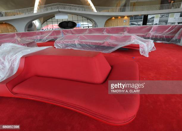Members of the media are taken on a tour of the future TWA Hotel at JFK Airport May 22 2017 that was once the TWA Flight Center in New York MCR...