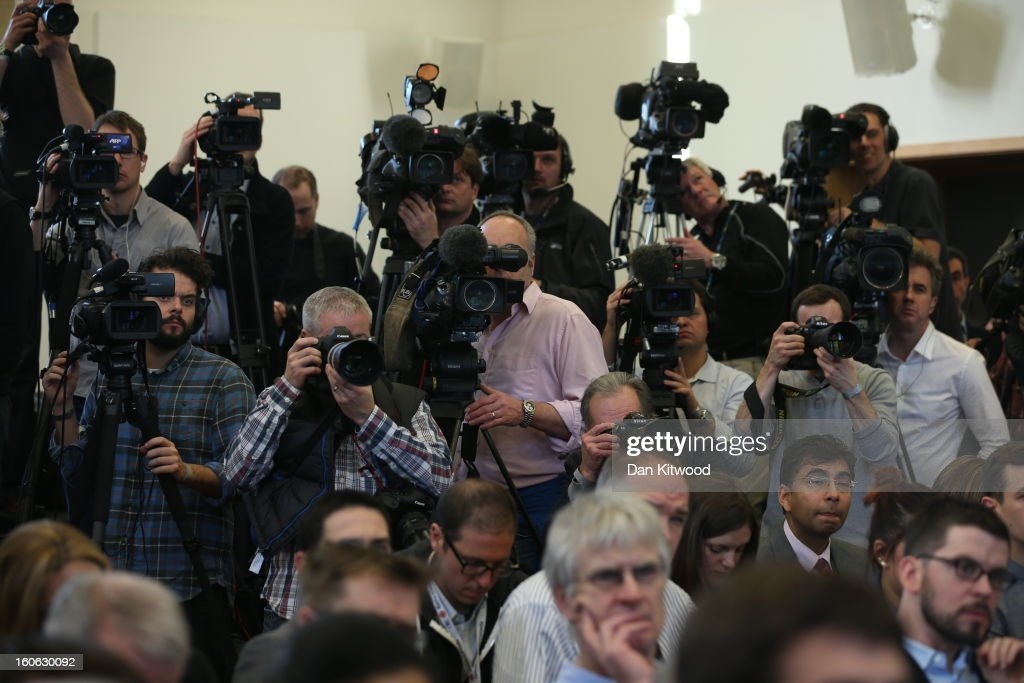 Members of the media attend a press conference at University Of Leicester as archaeologists announce whether the human remains found in Leicester are those of King Richard III on February 4, 2013 in Leicester, England. The University of Leicester has been carrying out scientific investigations on remains found in a car park to find out whether they are those of King Richard III since last September, when the skeleton was discovered in the foundations of Greyfriars Church, Leicester.