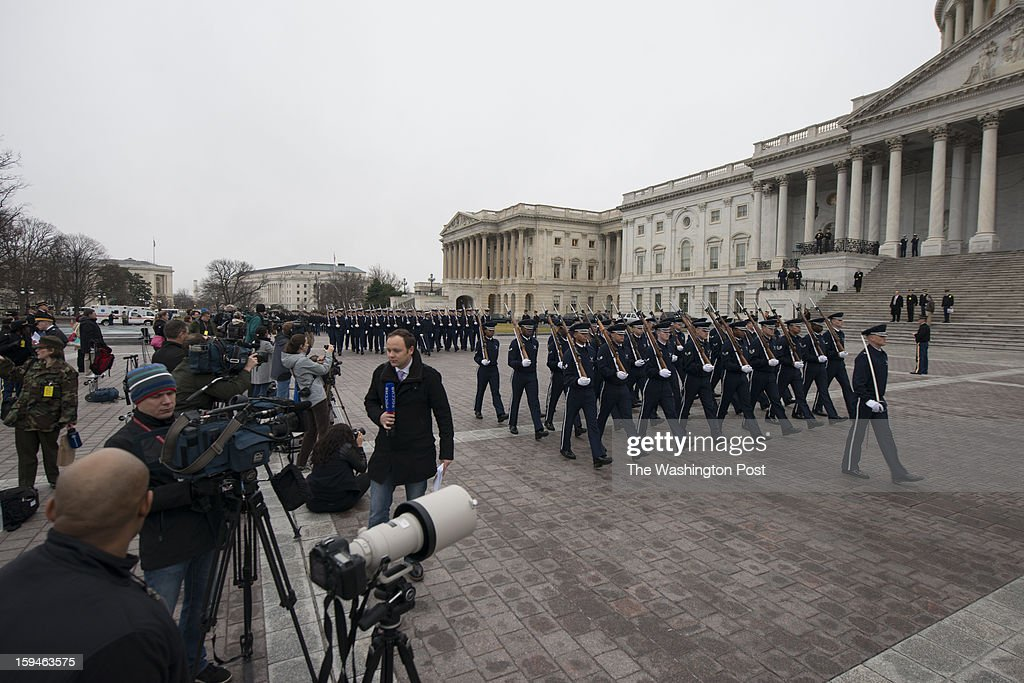Members of the media covering the dress rehearsal of the Presidential Inauguration outside the U.S. Capitol on Sunday, January 13, 2013.