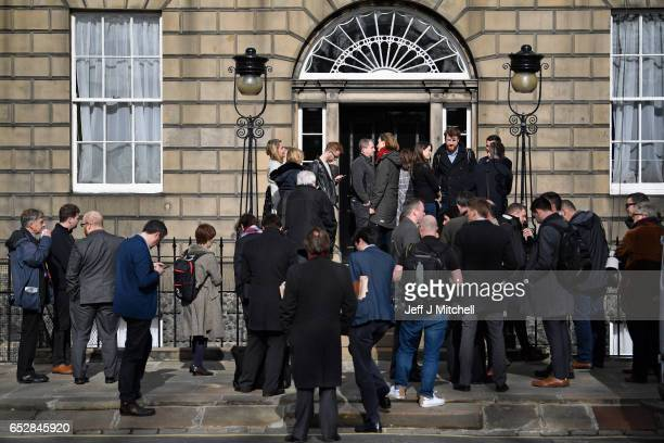 Members of the media gather at Bute House on March 13 2017 in Edinburgh Scotland Scotland's First Minister Nicola Sturgeon has confirmed she will ask...