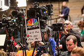 Members of the media set up prior to Republican presidential candidate Donald Trump speaking at the Bridge View Center on January 9 2016 in Ottumwa...