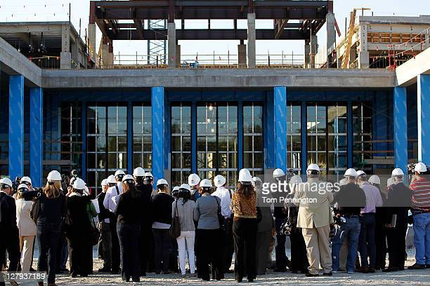 Members of the media take a tour of the future George W Bush Presidential Center on October 3 2011 in Dallas Texas The George W Bush Presidential...