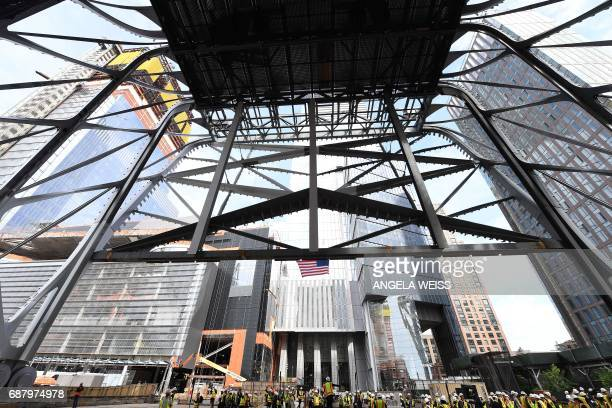 Members of the media tour the construction of The Shed New York's new center for artistic invention on May 24 2017 in New York City The facility is...