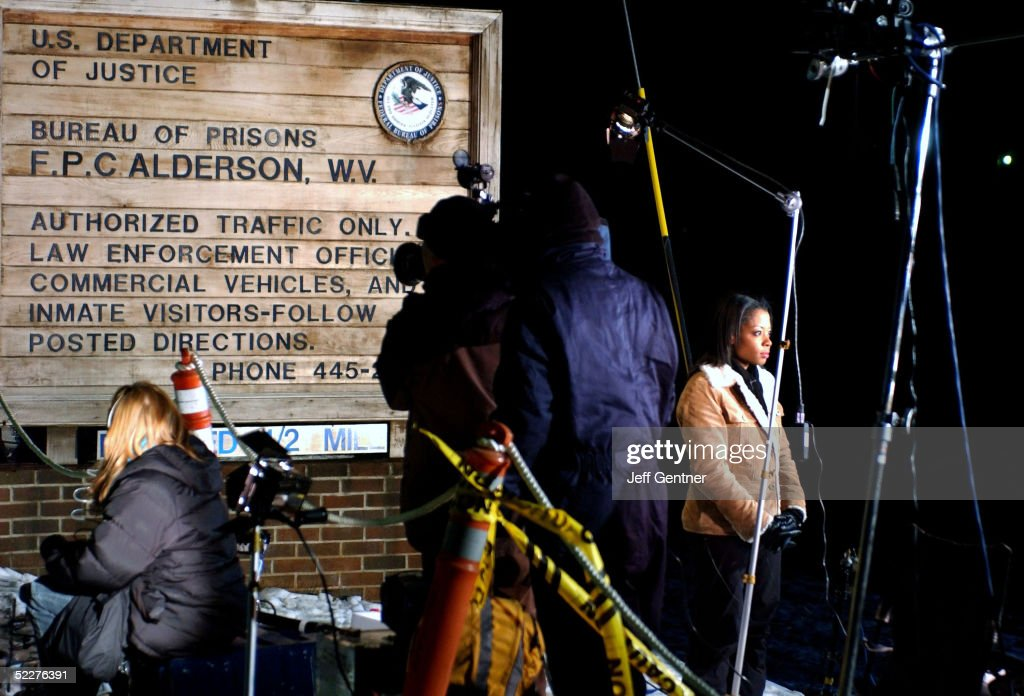 Members of the media wait for the exit of Martha Stewart outside the entrance to the Alderson Federal Prison Camp in Alderson, W.Va., just before midnight March 3, 2005 in Alderson, West Virginia. Stewart was released at 12:30 a.m. on March 4th after completing a five-month sentence for lying to federal investigators about a personal stock sale in late 2001. She will spend the next five months confined to her home in Bedford, New York, and will wear an electronic ankle bracelet to ensure she does not violate her detention. The court has also ruled that she can leave for up to 48 hours a week for work.