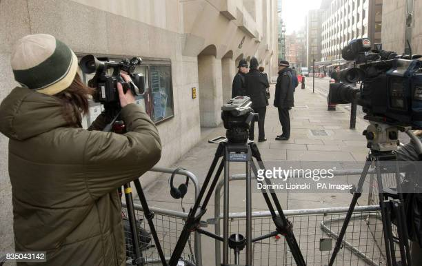 Members of the media wait outside the Old Bailey London before the expected sentencing of Nicky Reilly who accidentally set off a homemade nail bomb...
