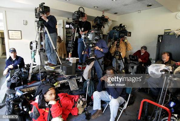 Members of the media work during the daily briefing by White House press secretary Scott McClellan in the briefing room that is located in the West...