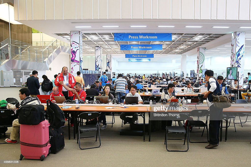 Members of the media work inside the press workroom of the media centre prior to the 17th Asian Games on September 18 2014 in Incheon South Korea