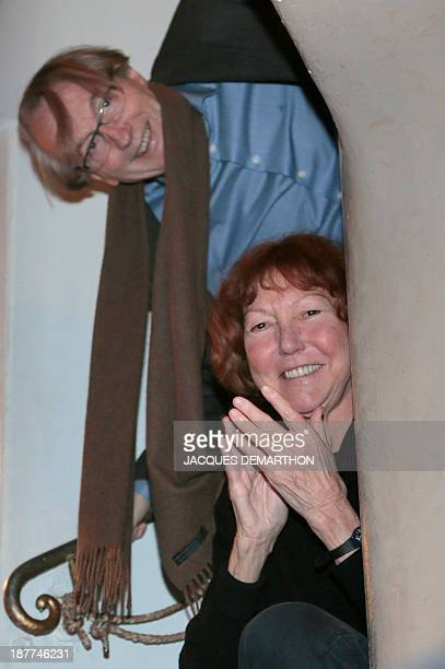 Members of the Medicis Prize French writer Patrick Grainville and French writer Anne Wiazemsky attend the Medicis Prize ceremony award on November 12...