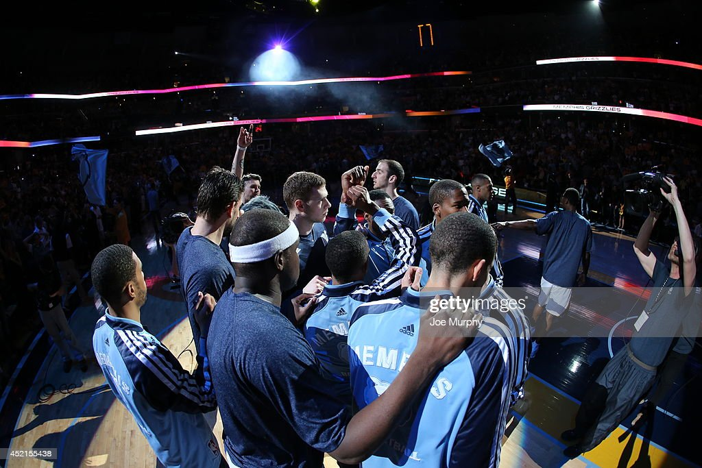 Members of the Memphis Grizzlies warm up against the Oklahoma City Thunder before Game Six of the Western Conference Quarterfinals during the 2014 NBA Playoffs on May 3, 2014 at FedExForum in Memphis, Tennessee.