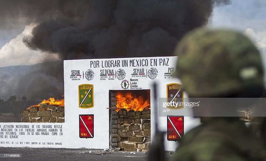 Members of the Mexican Army incinerate heroin, cocaine and methamphetamine at a military base in Monterrey, Nuevo Leon state, on August 23, 2013. The Mexican Army incinerated more than 7,7 tons of drug, the majority of it being marijuana, seized to groups of drug traffickers from the north of the country, reported a military authority. A total of 7.771 kilos of marijuana were destroyed, 15 of heroin, 2,9 of methamphetamine, 2,6 of cocaine, 119 plants of marijuana and 173 tablets of psychotropic, according to the commander of the Fourth Military Region, Noe Sandoval Citadel. The drug was seized in various operations of the Army and the Mexican General Prosecutor's Office in the state of Nuevo Leon, which has a narrow frontier area with the United States. AFP PHOTO/Julio Cesar Aguilar