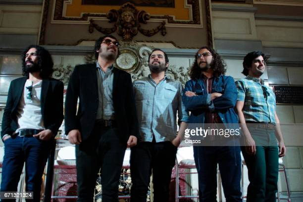 Members of the Mexican band Enjambre attend the press conference prior their show to take place at the Metropolitan Theater on April 20 2017 in...