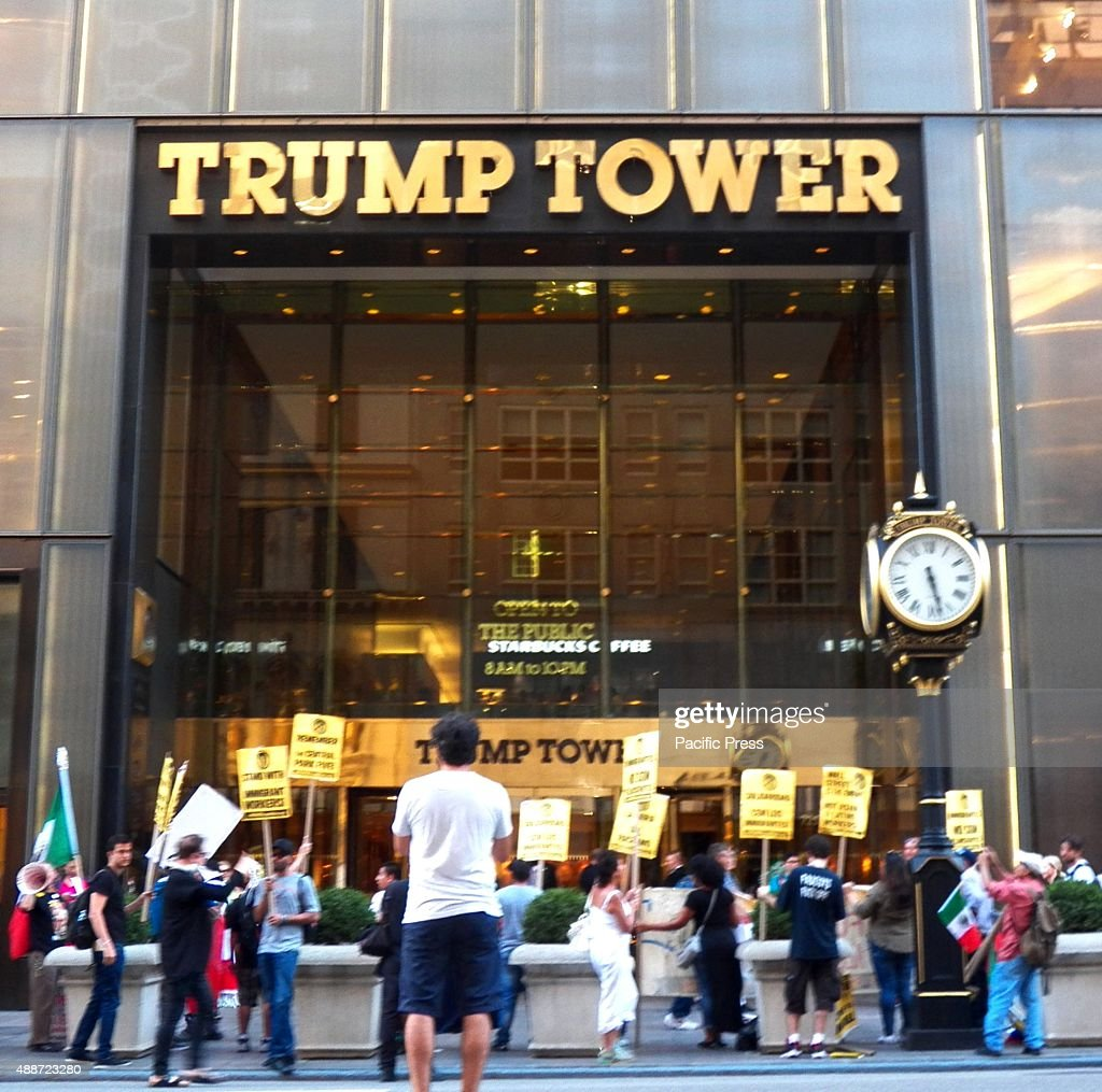 Members of the Mexican community hold a rally outside Trump's Tower The Mexican community in New York unites and stage protest against Donald Trump's...