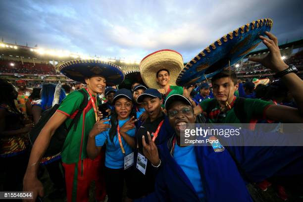 Members of the Mexico team take part in the closing ceremony during day five of the IAAF U18 World Championships on July 16 2017 in Nairobi Kenya