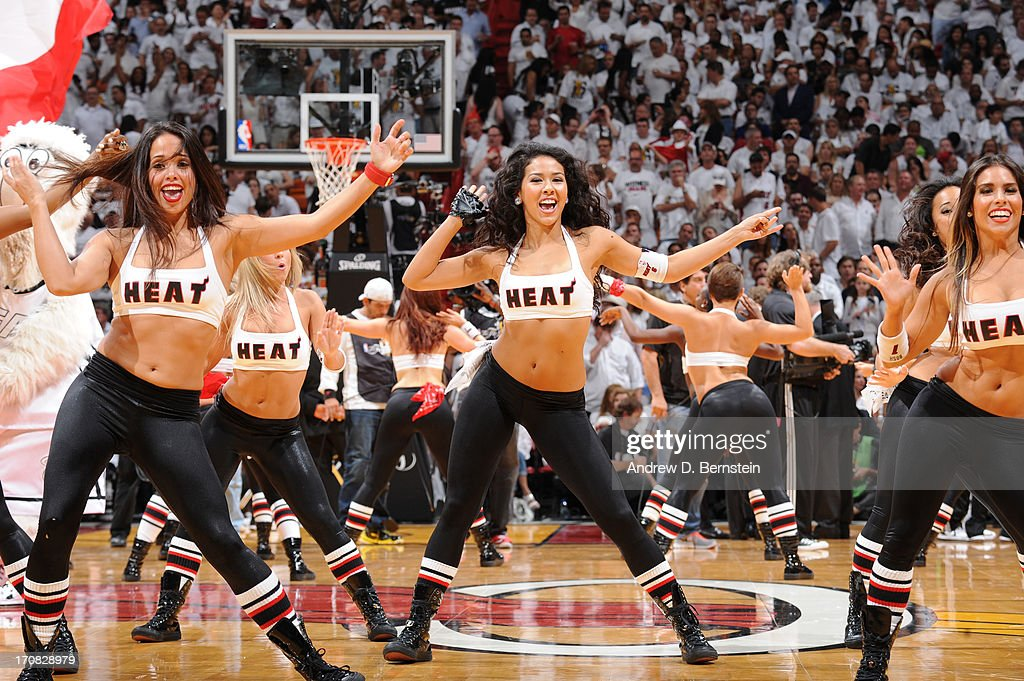 Members of the Miami Heat Dancers preform during Game Six of the 2013 NBA Finals between the Miami Heat and the San Antonio Spurs on June 18, 2013 at the American Airlines Arena in Miami, Florida.