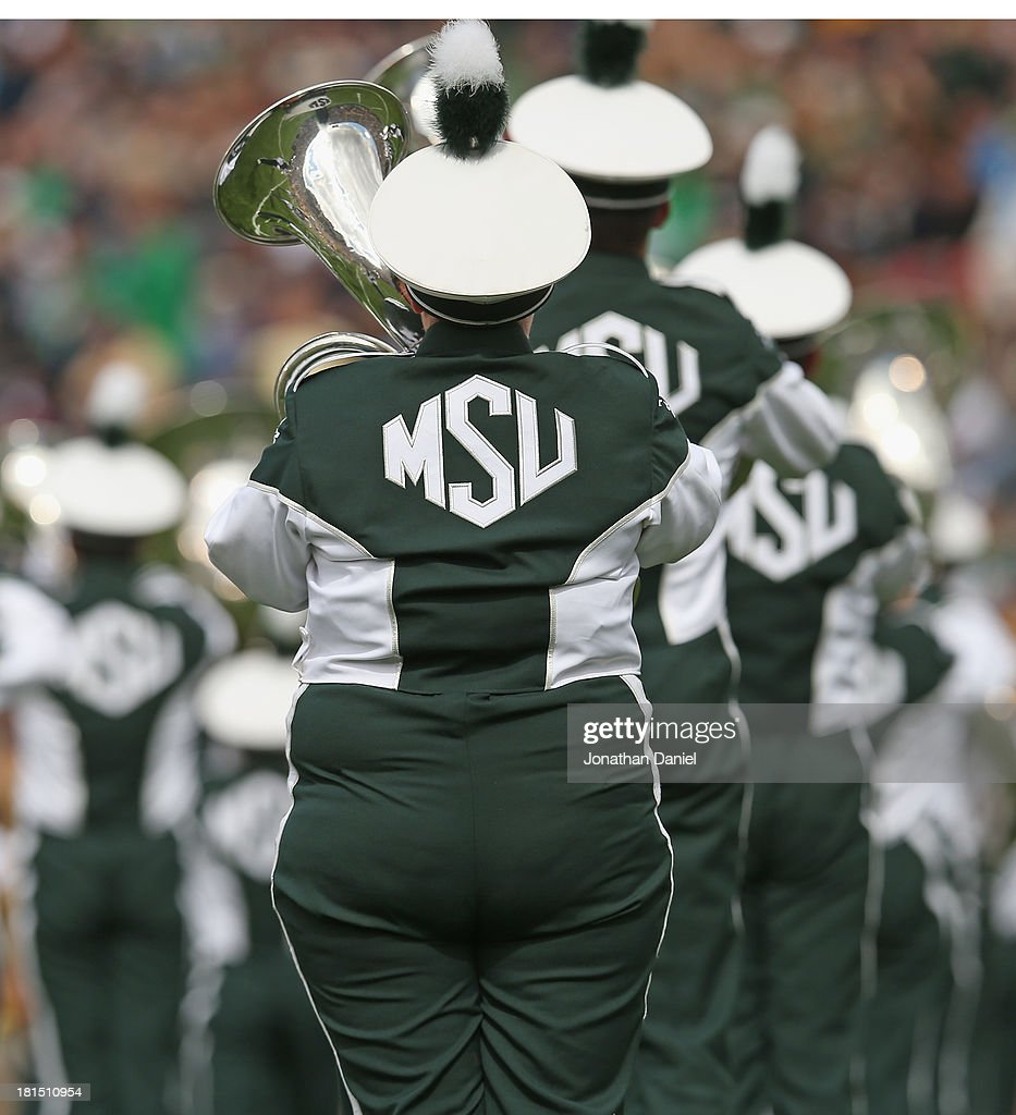Members of the Michigan State Spartans band perform a pre-game show before a game between the Spartans and the Notre Dme Fighting Irish at Notre Dame Stadium on September 21, 2013 in South Bend, Indiana.