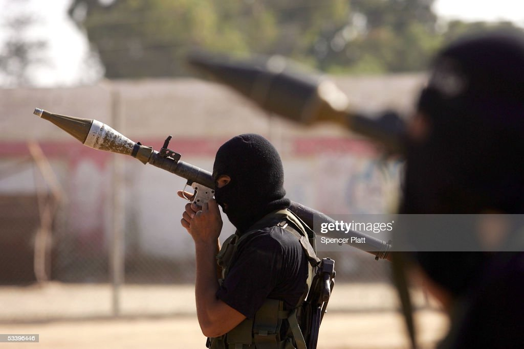 Members of the militant wing of Fatah participate in a rally August 16 2005 in Gaza City Gaza Strip Israel closed off all entry into the settlements...