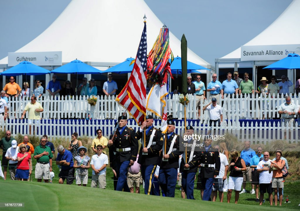 Members of the Military Color Guard march to the 18th green during MIlitary Appreciation Day after the second round of the Legends Division at the Liberty Mutual Insurance Legends of Golf at The Westin Savannah Harbor Golf Resort & Spa on April 27, 2013 in Savannah, Georgia.