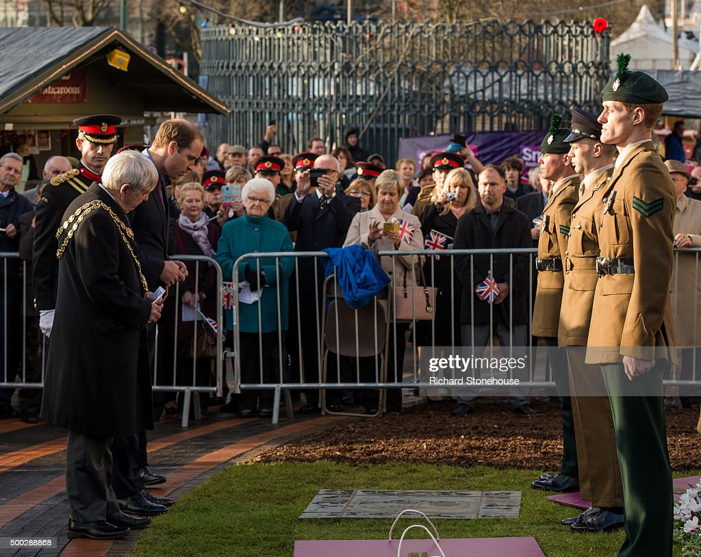 Members Of The Military Look On As Prince William The Duke Of Cambridge Attends The Unveiling