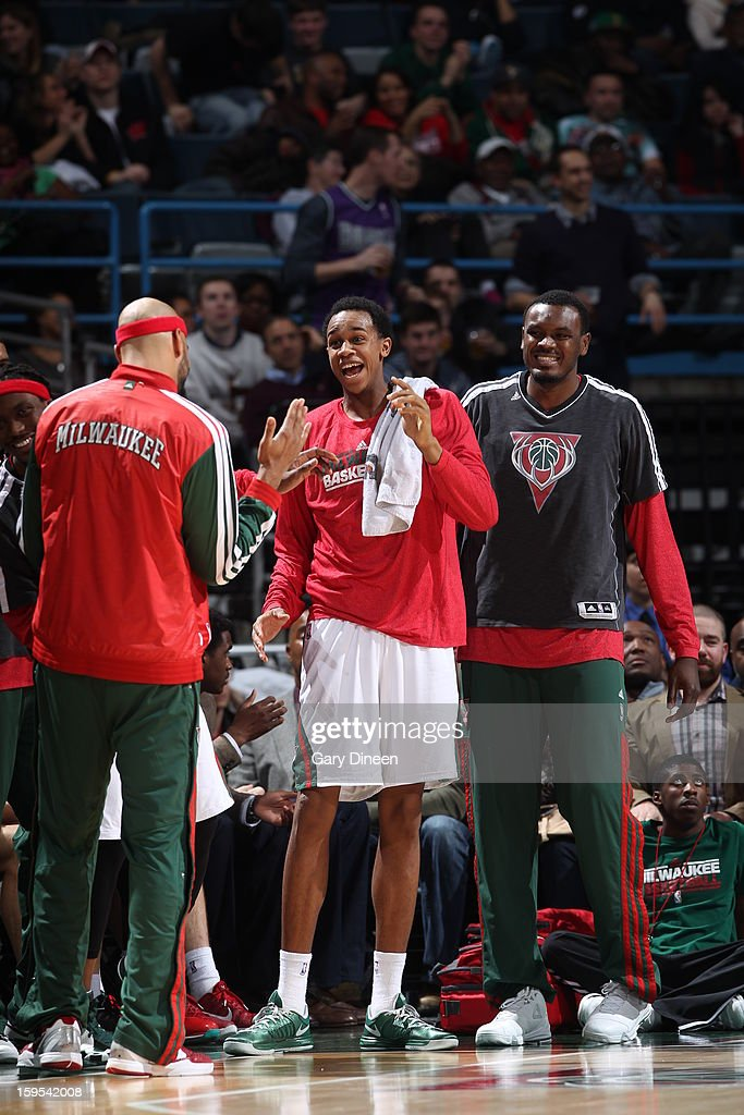 Members of the Milwaukee Bucks celebrate a play on the bench during the game against the Detroit Pistons on January 11, 2013 at the BMO Harris Bradley Center in Milwaukee, Wisconsin.