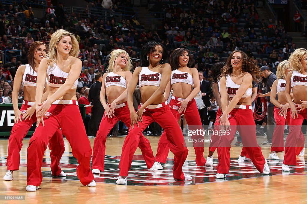 Members of the Milwaukee Bucks Dance team entertain the crowd against of the Portland Trail Blazers on March 19, 2013 at the BMO Harris Bradley Center in Milwaukee, Wisconsin.