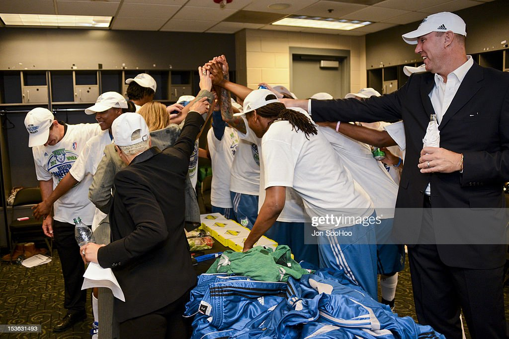 Members of the Minnesota Lynx celebrate after winning the WNBA Western Conference Finals against the Los Angeles Sparks at Staples Center on October 7, 2012 in Los Angeles, California.
