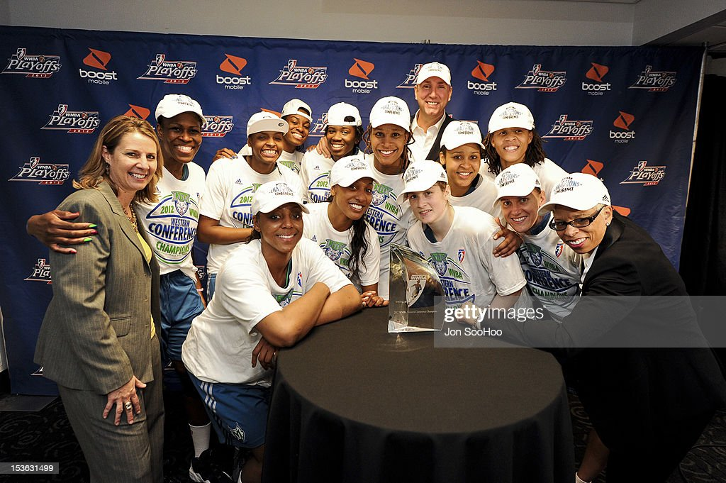 Members of the Minnesota Lynx pose for a photo after winning the WNBA Western Conference Finals against the Los Angeles Sparks at Staples Center on October 7, 2012 in Los Angeles, California.