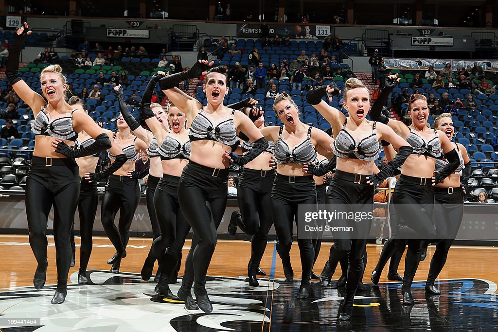 Members of the Minnesota Timberwolves dance team entertain the crowd against the Phoenix Suns during the game on April 13, 2013 at Target Center in Minneapolis, Minnesota.
