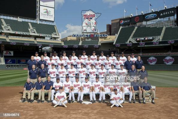 Members of the Minnesota Twins pose for the official 2013 team photograph before the game against the Chicago White Sox on August 16 2013 at Target...