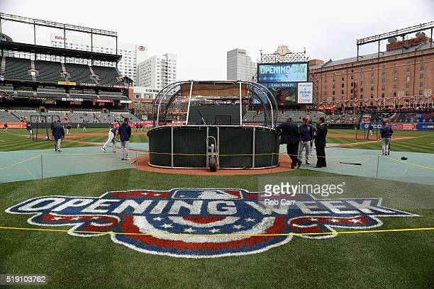 Members of the Minnesota Twins take batting practice before the start of their Opening Day game against the Baltimore Orioles at Oriole Park at...
