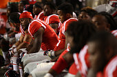 Members of the Mississippi Rebels watch the last few minutes of a 107 loss to LSU Tigers at Tiger Stadium on October 25 2014 in Baton Rouge Louisiana
