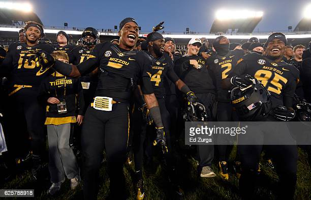 Members of the Missouri Tigers celebrate a 2824 win over the Arkansas Razorbacks at Memorial Stadium on November 25 2016 in Columbia Missouri