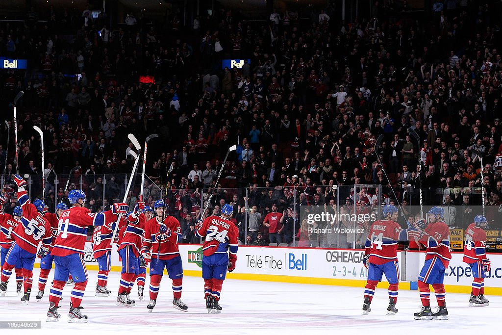 Members of the Montreal Canadiens acknowledge the fans after defeating the Winnipeg Jets in their NHL game at the Bell Centre on April 4, 2013 in Montreal, Quebec, Canada. The Canadiens defeated the Jets 4-1.