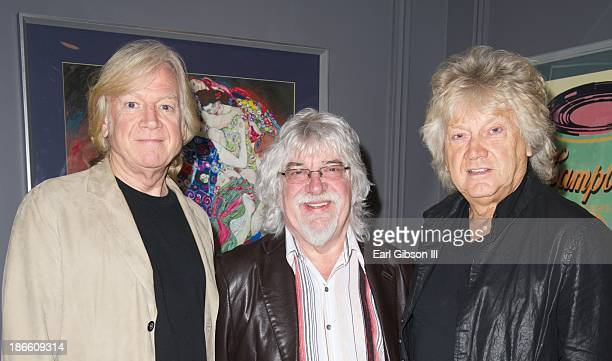 Members of the Moody Blues Justin Hayward Graeme Edge and John Lodge pose for a photo before their show at Nokia Theatre LA Live on November 1 2013...