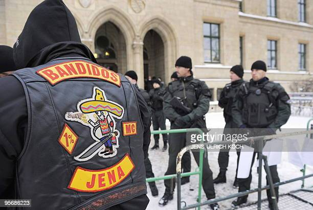 Members of the motorcycle gang 'Bandidos' arrive for the trial of 6 of its members in the eastern German city of Erfurt on January 11 2010 The...
