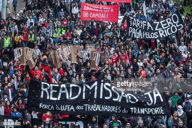 Members of the MPL 'Free Pass Movement' protest for free transportation and against the overspending of the FIFA 2014 World Cup on June 19 2014 in...