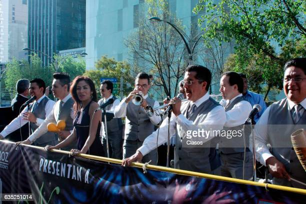 Members of the music band from the play Aventura ride around the city in a touristic bus promoting their play on February 09 2017 in Mexico City...