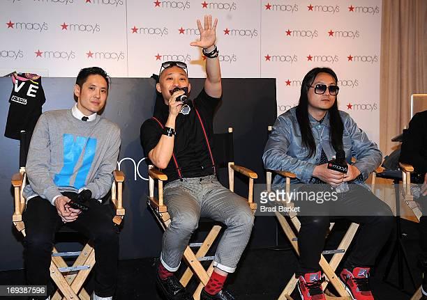 Members of the music group The Far East Movement Kev Nish Prohgress JSplif and DJ Virman attend the Macy's and the Far East Movement celebrate...