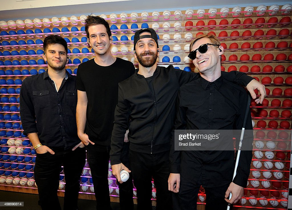 Members of the music group X Ambassadors Noah Feldshuh Casey Harris Sam Harris and Adam Levin pose for a photo at MLB Fan Cave on November 7 2014 in...