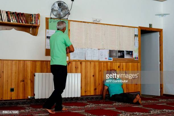 Members of the muslim community are pictured at the mosque of Ripoll on August 20 2017 Spanish police said on August 21 2017 that they have...