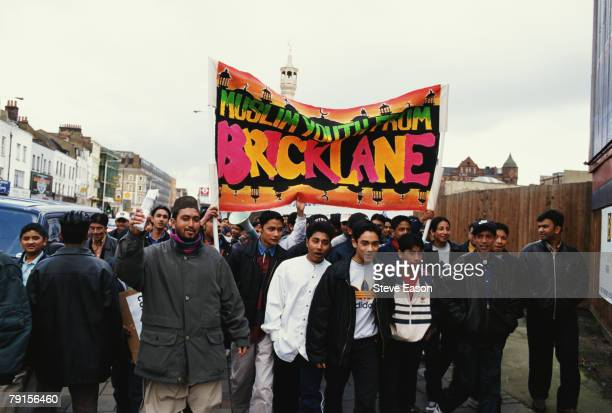 Members of the Muslim Youth Forum taking part in a National Assembly Against Racism rally in Brick Lane East London 1st May 1999 The demonstration...