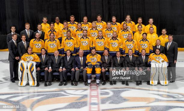 Members of the Nashville Predators pose for the official 20132014 team photograph at the Bridgestone Arena on April 11 2014 in Nashville TN